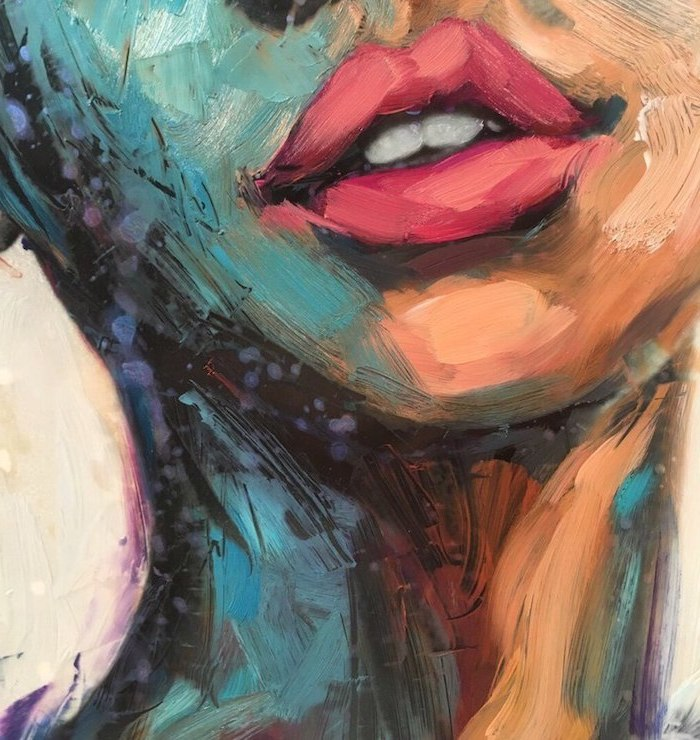 close up of a female face, painted in different colors, cool easy paintings, large pink lips