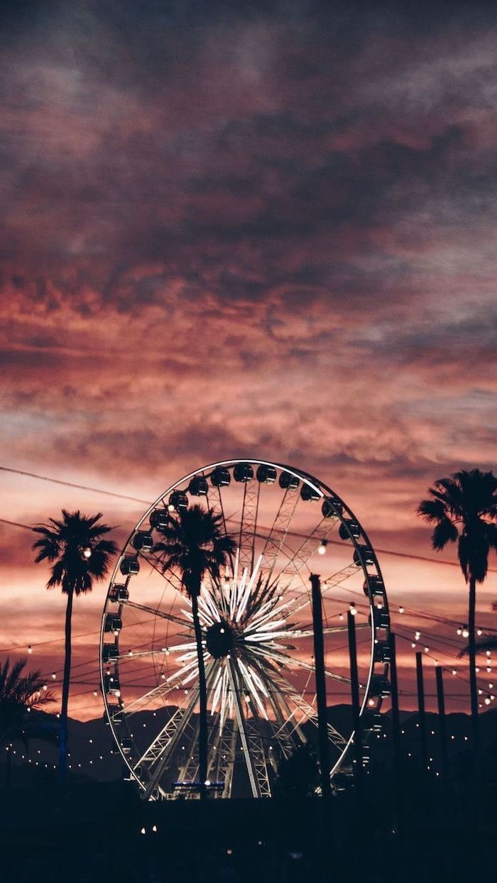 ferris wheel with fairy lights, photographed at sunset, surrounded by tall palm trees, cute aesthetic wallpapers