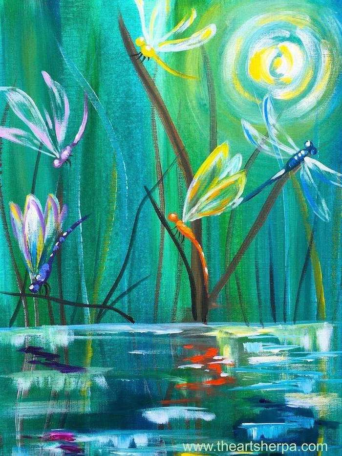 easy canvas painting ideas, fireflies flying over a pond, green and turquoise background