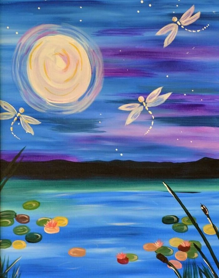 fireflies flying over a pond, easy canvas painting ideas, moon in the sky, purple and blue sky