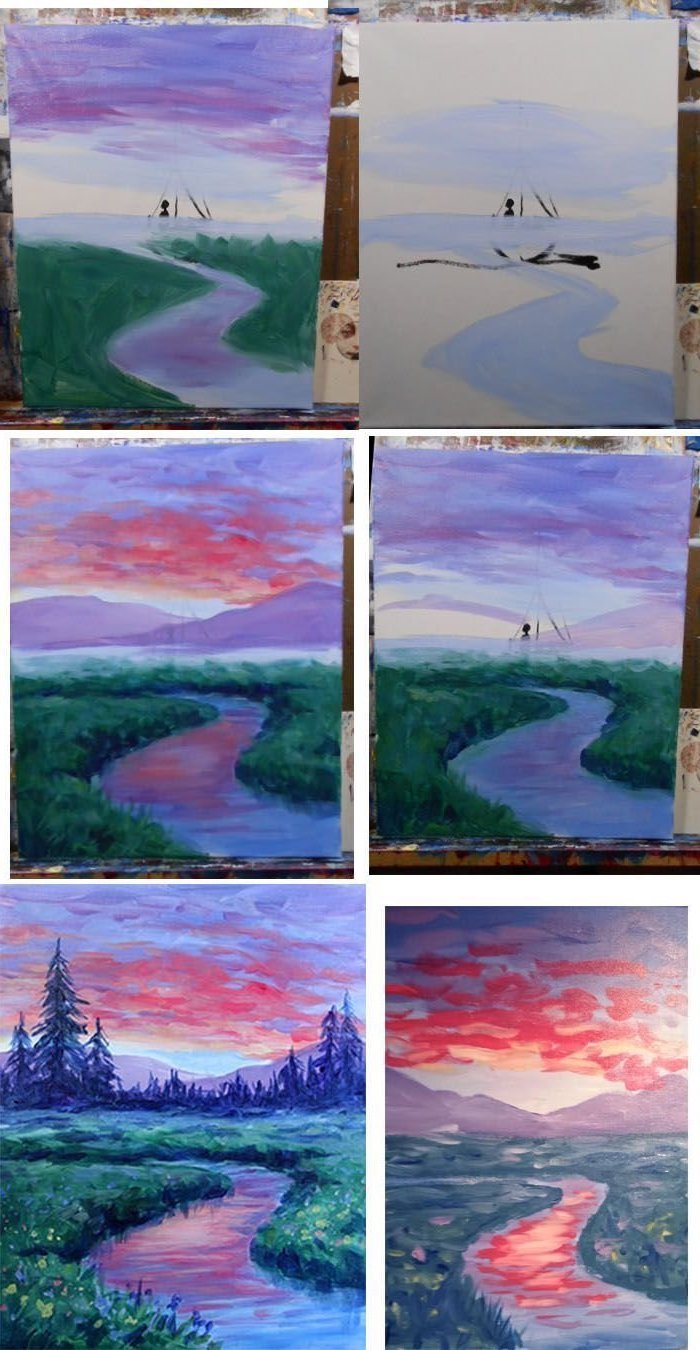 photo collage of step by step diy tutorial, how to draw a forest landscape, easy acrylic paintings, sunset sky