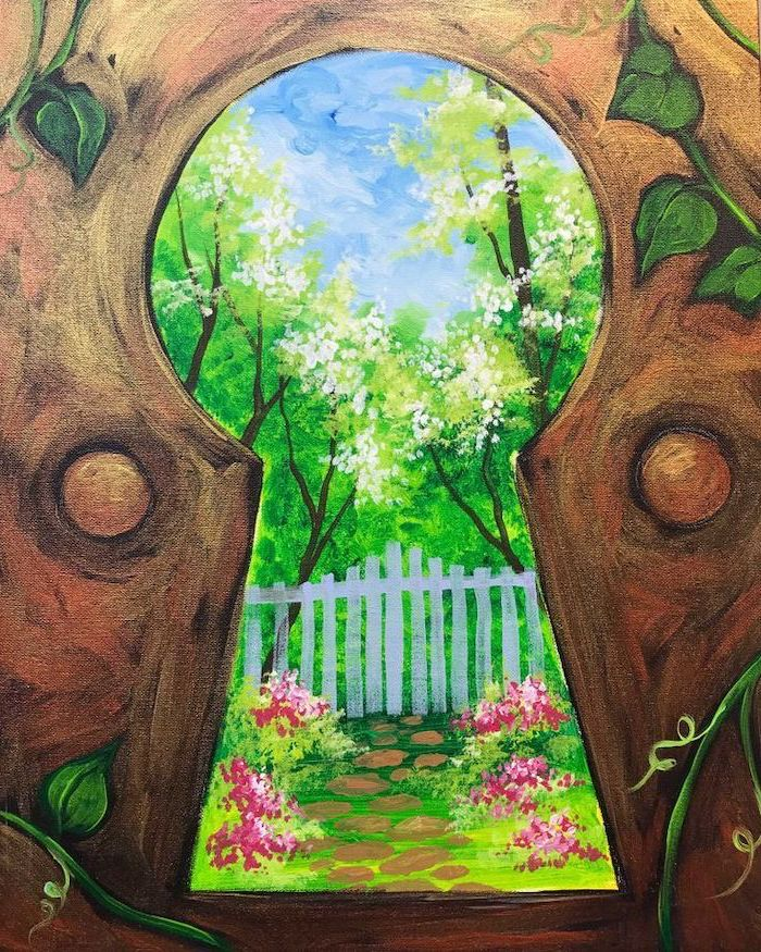 forest landscape seen from a keyhole, easy canvas painting ideas, white picket fence, tall trees with white blossoms