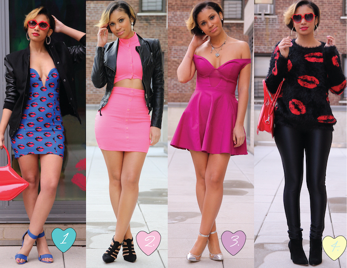 red valentines day dress, four side by side photos, woman wearing different outfits, pink black and blue