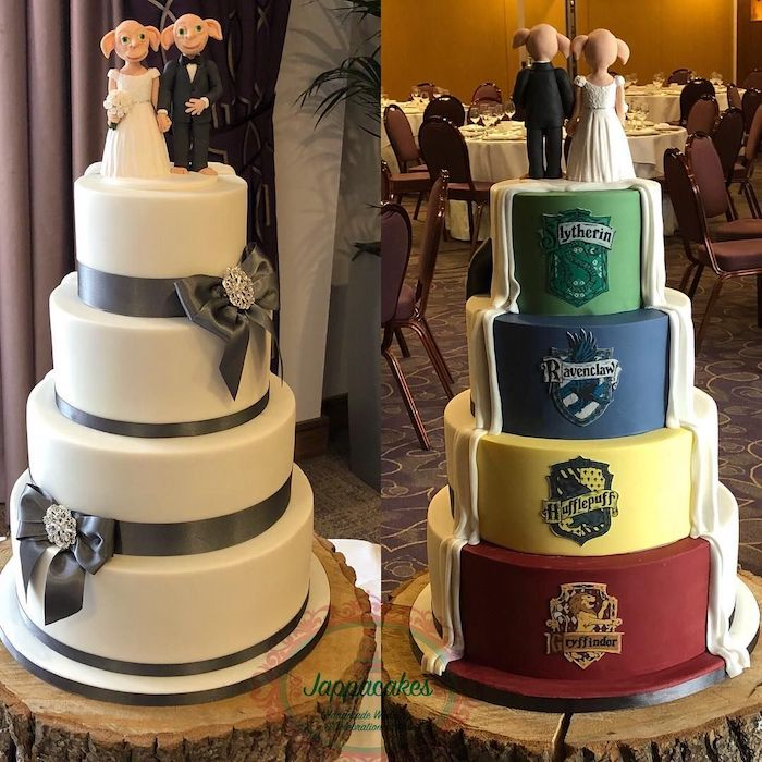 wedding cake covered with white fondant at the front, four hogwarts houses on the back, hagrid birthday cake, four tier cake