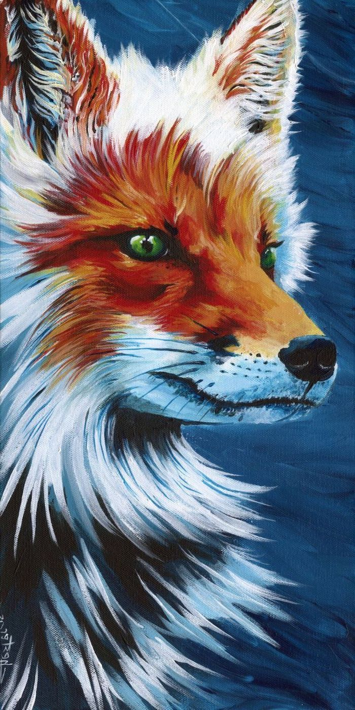 close up of a fox, white and orange fur and green eyes, easy acrylic paintings, dark blue background