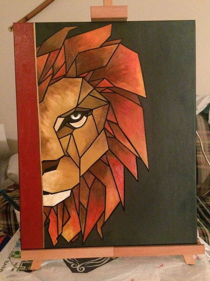 geometrical painting of a lion head, easy canvas painting ideas, painted on black background, step by step acrylic painting tutorial