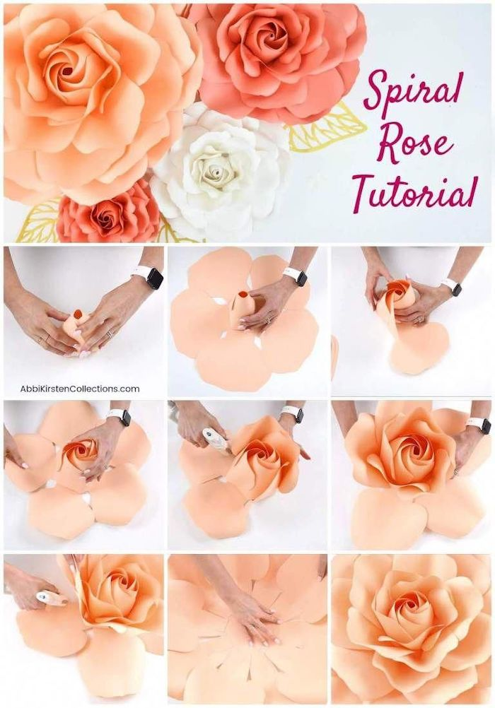 how to make a spiral rose out of paper, photo collage of step by step diy tutorial, paper flower backdrop, blush paper