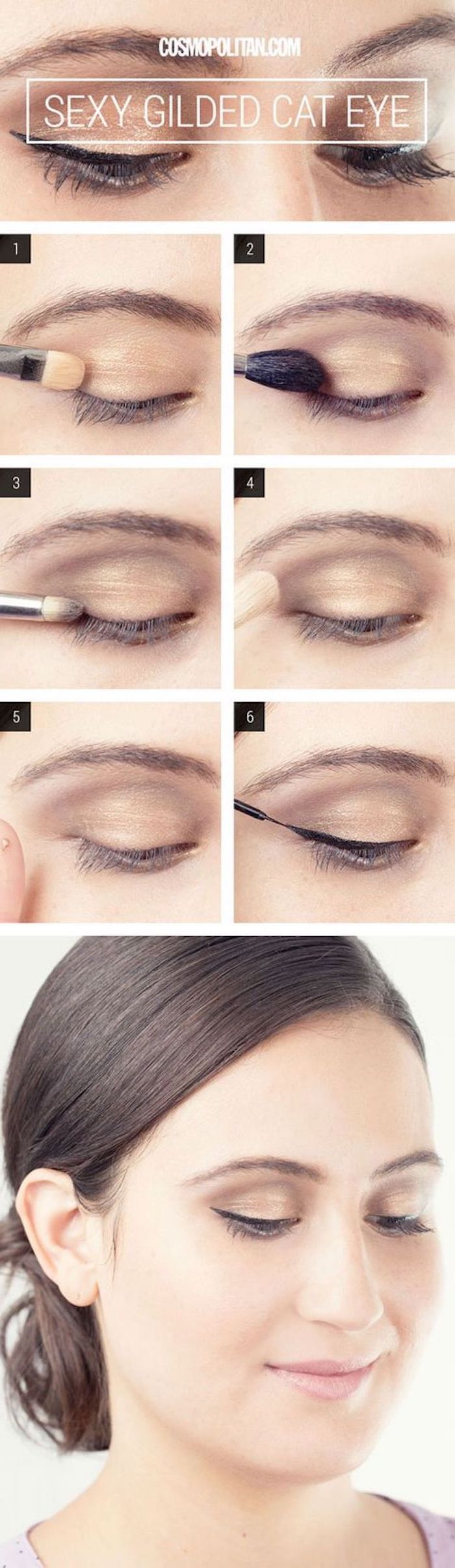 gilded cat eye, step by step diy tutorial, green eyeshadow, nude eyeshadow colors, black cat eyeliner