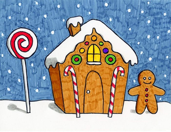 drawing of gingerbread house, lollipop and gingerbread man next to it, cute and easy drawings, colored with markers