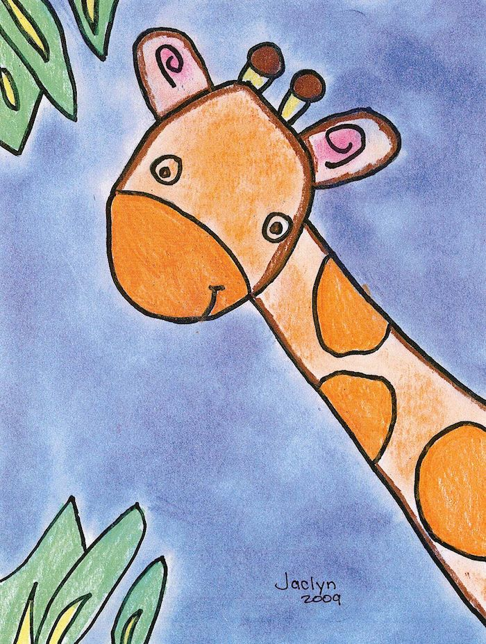 drawing of a giraffe, green leaves in both corners, blue background, colored with pencils, cute and easy drawings