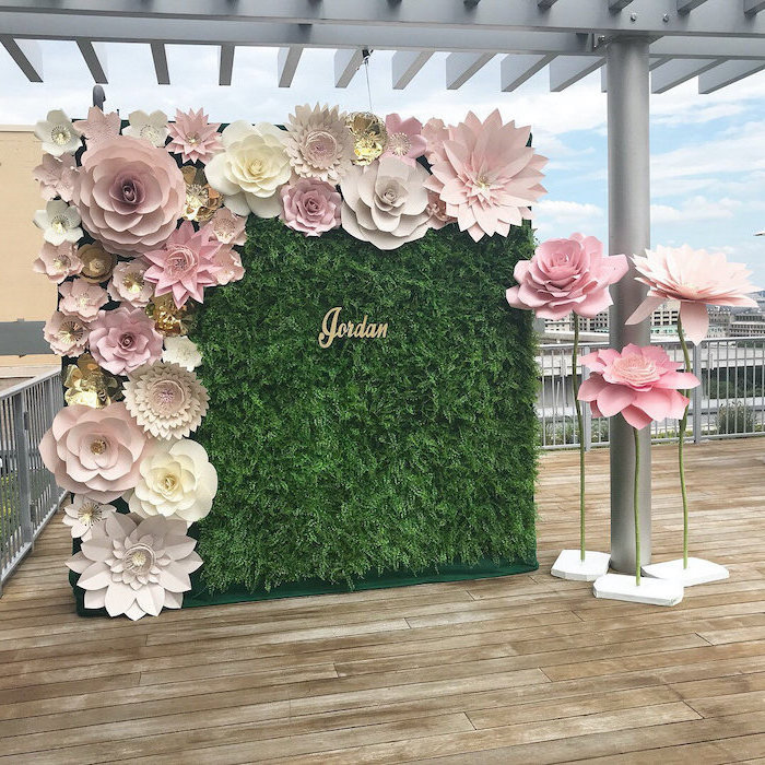 greenery backdrop with large paper flowers, giant paper flowers, different shapes and sizes, paper flowers stands