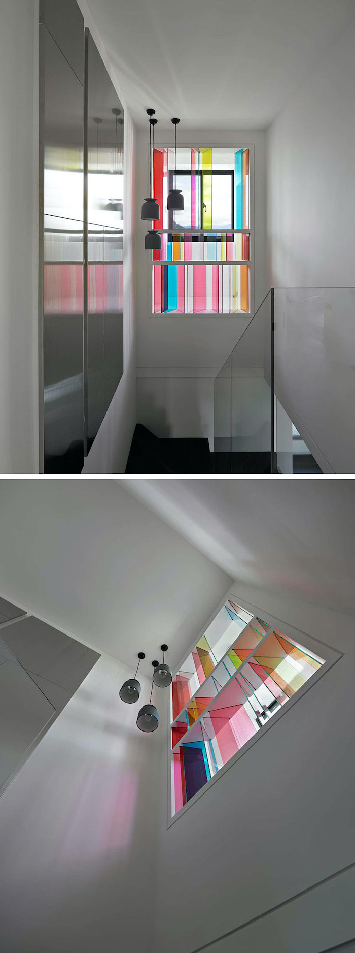 two photos of a hallway and staircase, window between the floors with colored windows, stained glass doors