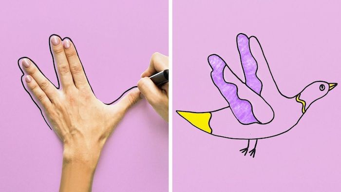 hand print drawing of flying bird, colored with purple and yellow, cute and easy drawings, side by side photos