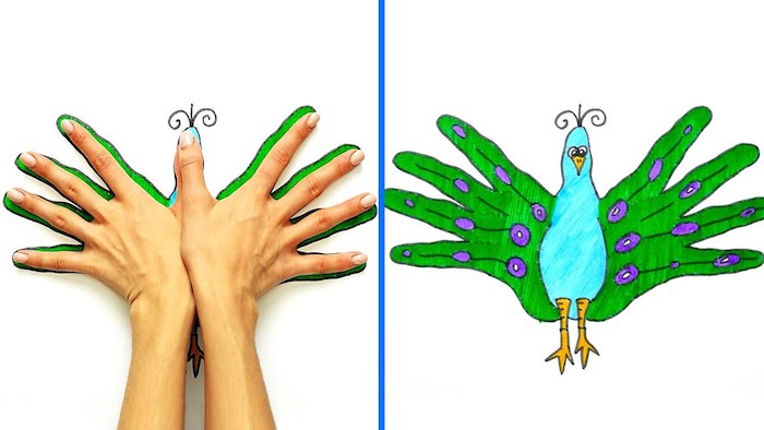 cute and easy drawings, hand print drawing of peacock, colored with green and blue, side by side photos
