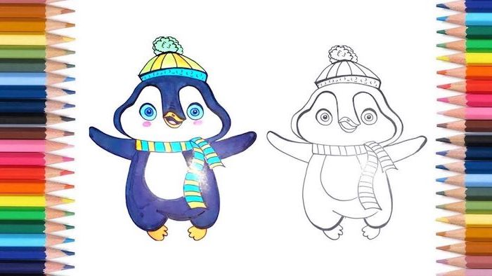 happy penguin, coloring page, colored with markers, simple easy drawings, white background, pencils on the side