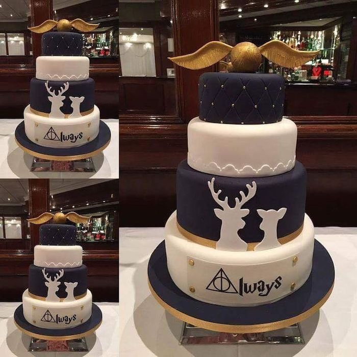 four tier wedding cake, covered with dark blue and white fondant, happy birthday harry potter cake, golden snitch topper