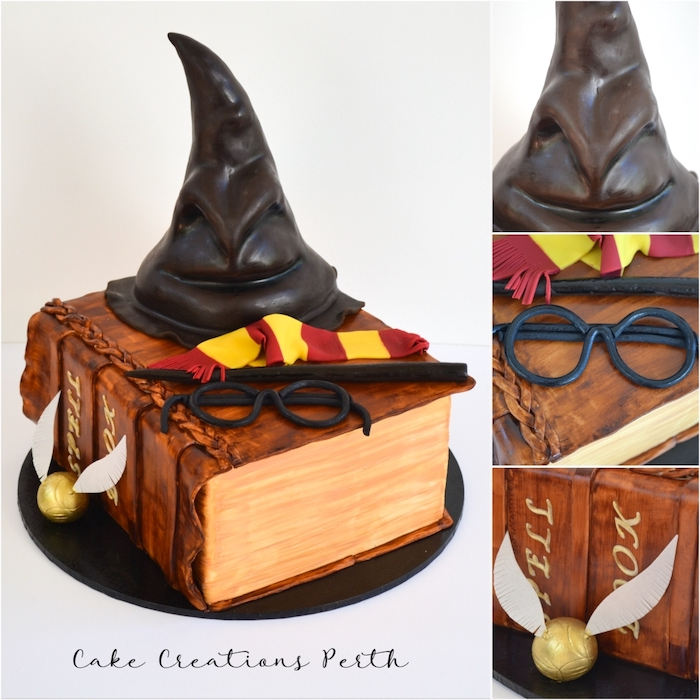 one tier cake int he shape of spell book, happy birthday harry potter cake, gryffindor scarf and glasses, wand and sorting hat on top