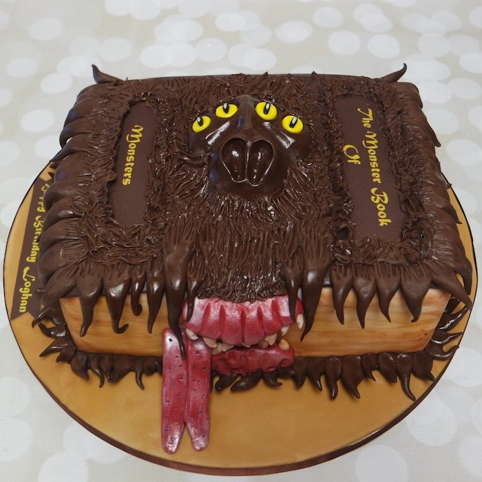 the monster book of monsters, one tier cake made with fondant and buttercream, harry potters birthday cake