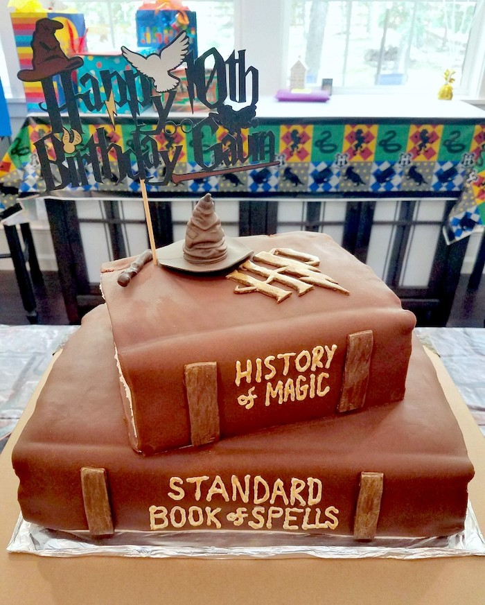 two tier cake in the shape of books, harry potters birthday cake, history of magic, standard book of spells