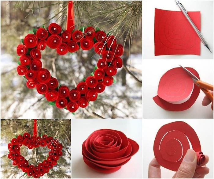 photo collage of step by step diy tutorial, diy valentine decorations, heart shaped wreath, made of red paper roses