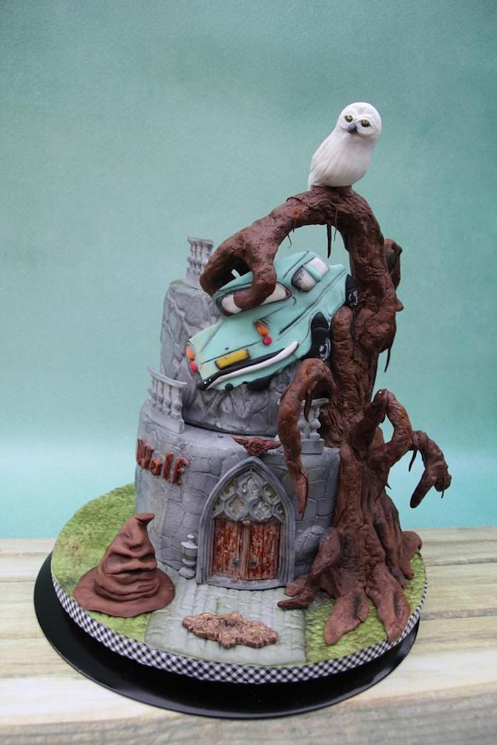 whomping willow, ron's flying car, made of fondant, harry potters birthday cake, two tier cake, placed on wooden surface