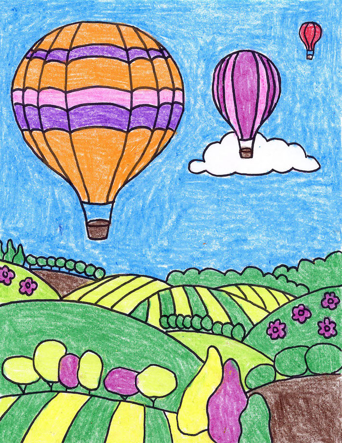 hot air balloons flying over green fields, simple easy drawings, drawing colored with crayons