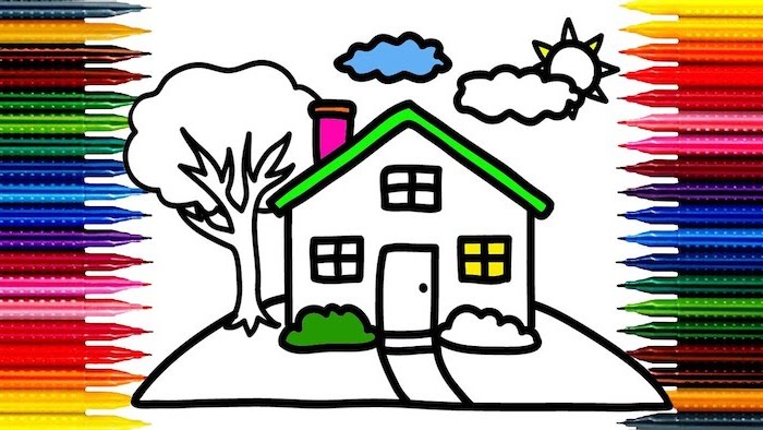 coloring page, how to draw for kids, drawing of a house with tree on the side, sun and clouds on top, pencils around it