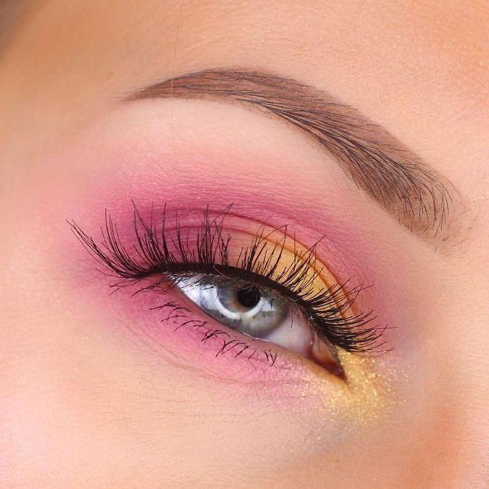 yellow and pink eyeshadow colors, green eyeshadow, woman with blue eyes, slim eyebrows
