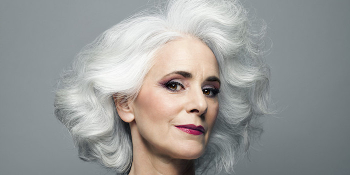 woman with white wavy hair, eyeshadow ideas, pink eyeshadow colors, dark pink lip gloss