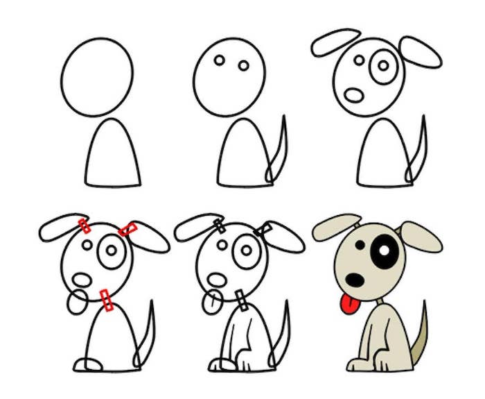 how to draw a dog in six steps, step by step diy tutorial, simple easy drawings, white background
