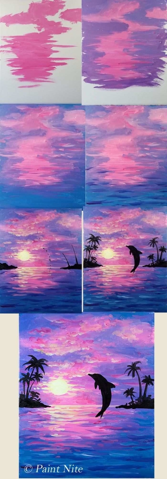dolphin swimming in the ocean at sunset, easy acrylic paintings, photo collage of step by step diy tutorial