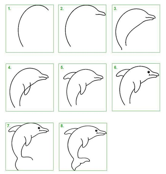 how to draw a dolphin in eight steps, cool designs to draw, step by step diy tutorial, white background