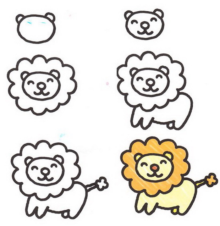 step by step diy tutorial, how to draw a lion in six steps, cool designs to draw, white background