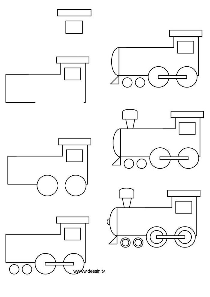 how to draw for kids, how to draw a train's locomotive in seven steps, black and white sketch, step by step diy tutorial