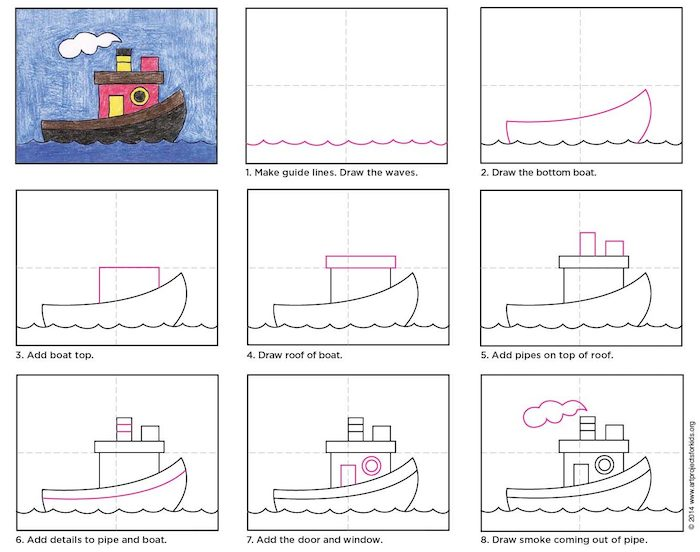 step by step diy tutorial, how to draw a tugboat in eight steps, how to draw for kids, colored drawing