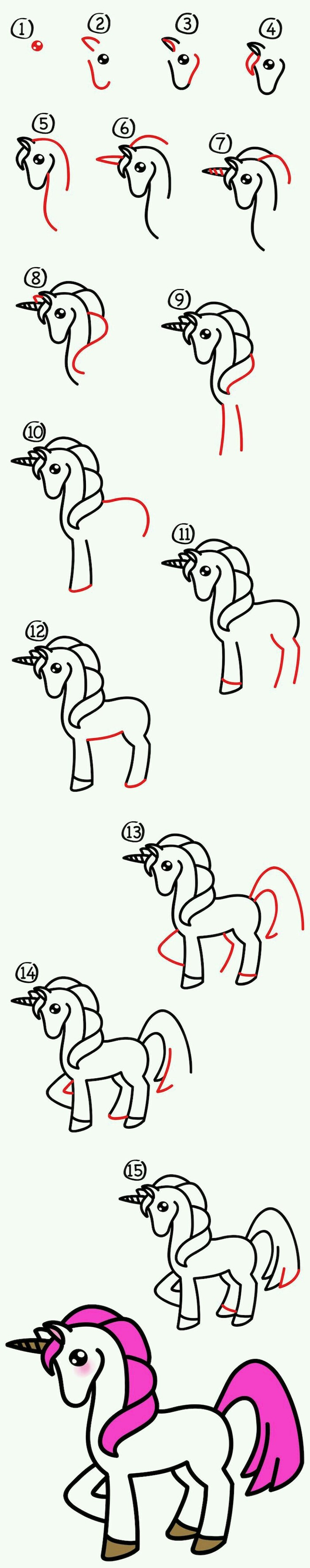 how to draw a unicorn, cute and easy drawings, step by step diy tutorial, white background