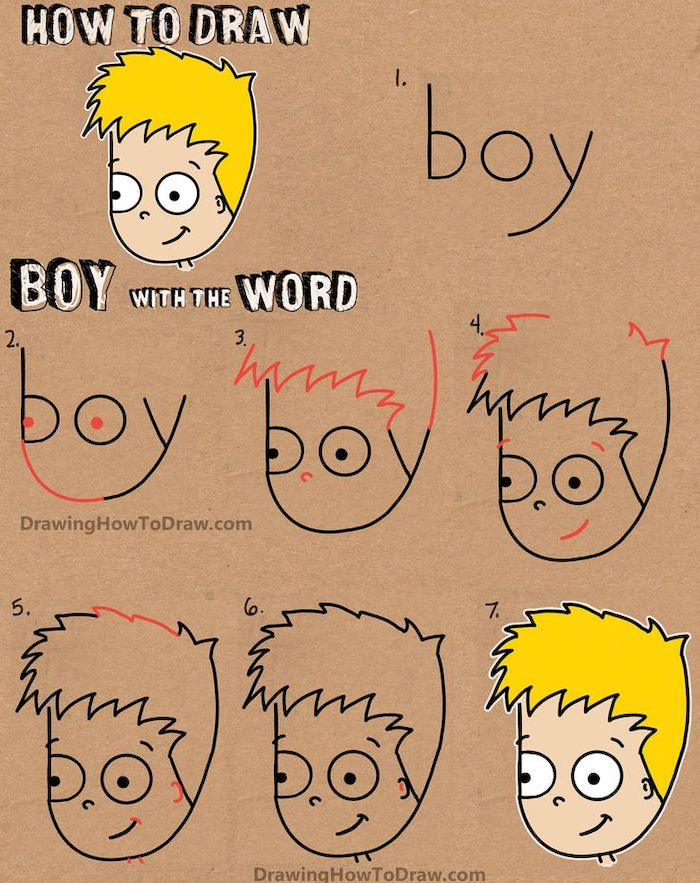 how to draw a boy with the word boy, step by step diy tutorial, how to draw for kids, colored drawing