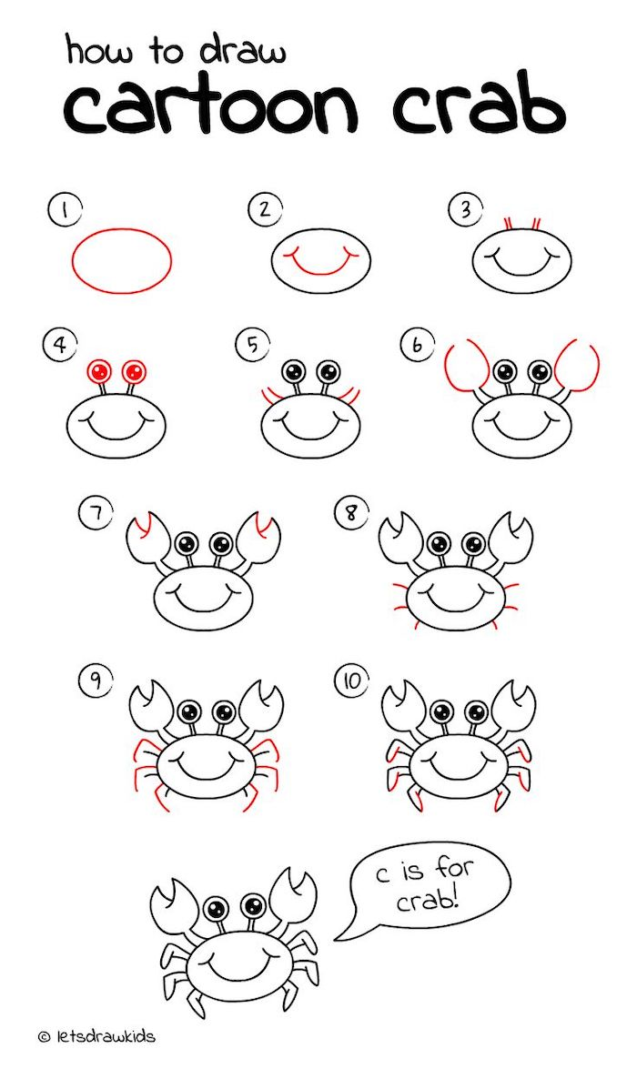 how to draw cartoon crab in ten steps, how to draw for kids, step by step diy tutorial, black and white sketch