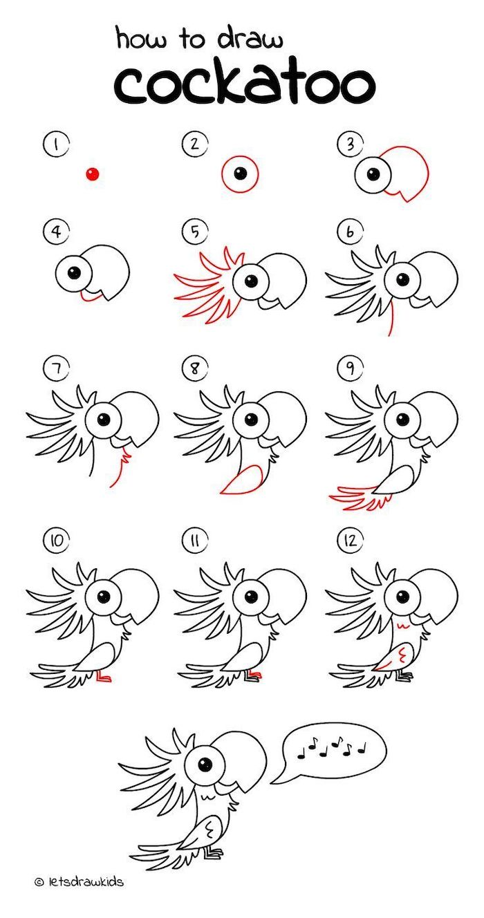 ho wto draw a cockatoo in twelve steps, step by step diy tutorial, easy sketches to draw, black and white sketch