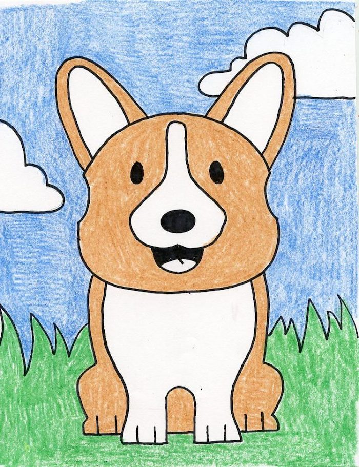 drawing of a corgi, sitting on grass, blue sky in the background, easy sketches to draw, drawing colored with crayons