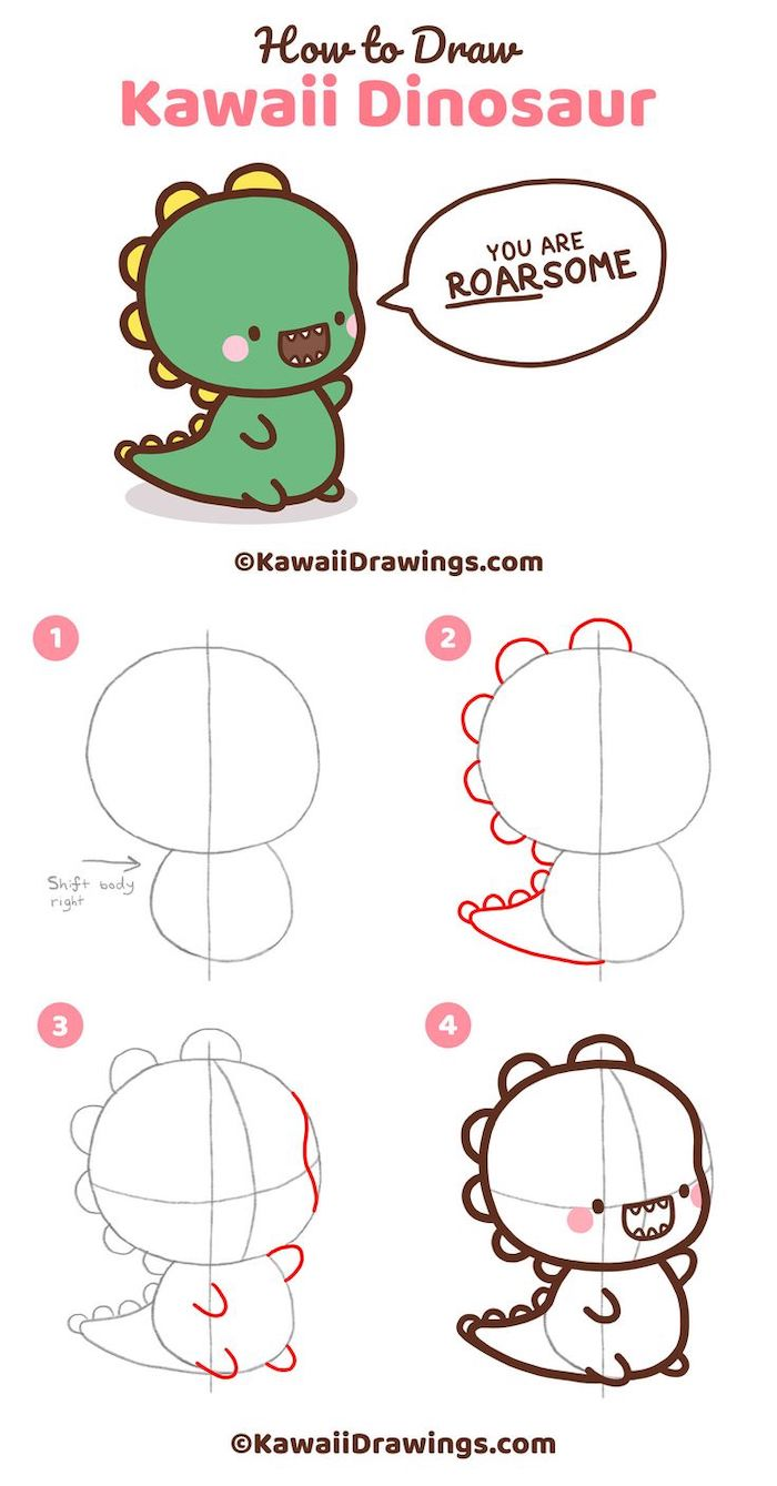 step by step diy tutorial, easy sketches to draw, how to draw kawaii dinosaur in four steps, white background