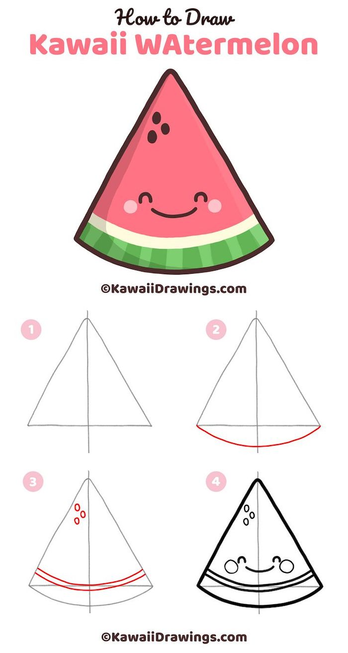how to draw kawaii watermelon in four steps, easy sketches to draw, step by step diy tutorial, white background, creative drawing ideas for beginners