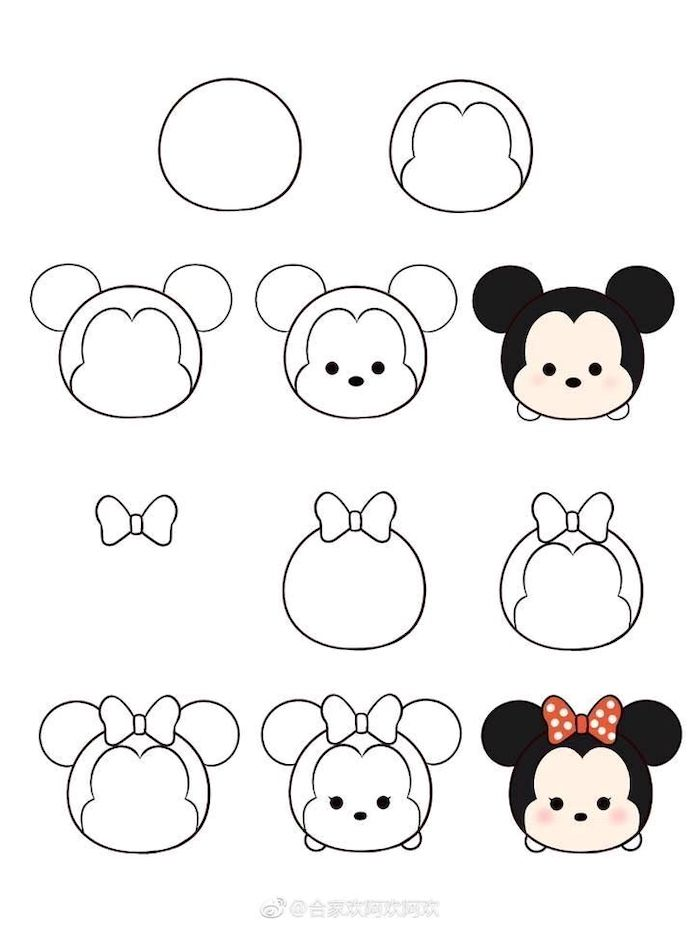 how to draw mickey and minnie mouse, easy drawing tutorials, step by step diy tutorial, white background