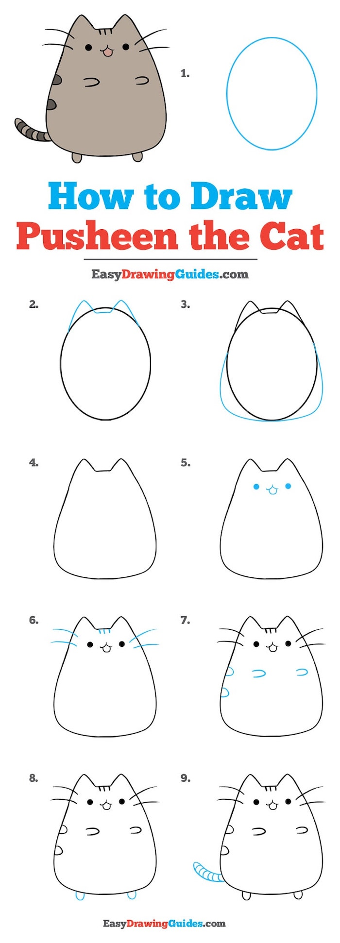 how to draw pusheen the cat in nine steps, step by step diy tutorial, easy drawing tutorials, white background