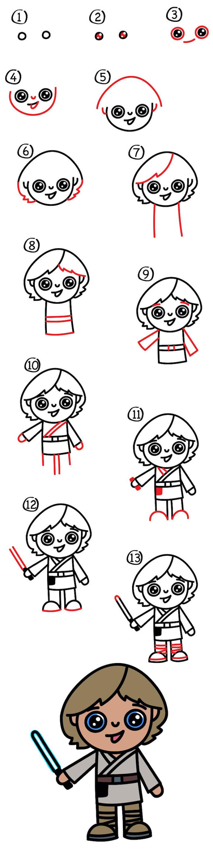 how to draw luke skywalker in thirteen steps, star wars character, easy drawing tutorials, step by step diy tutorial