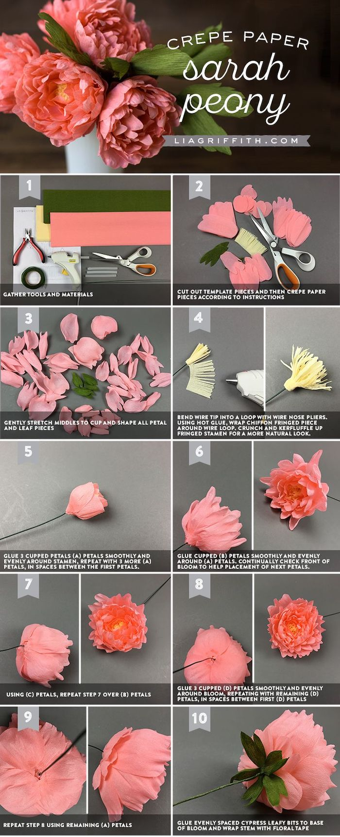 photo collage of step by step diy tutorial, crepe paper flowers, how to make a sarah peony out of crepe paper