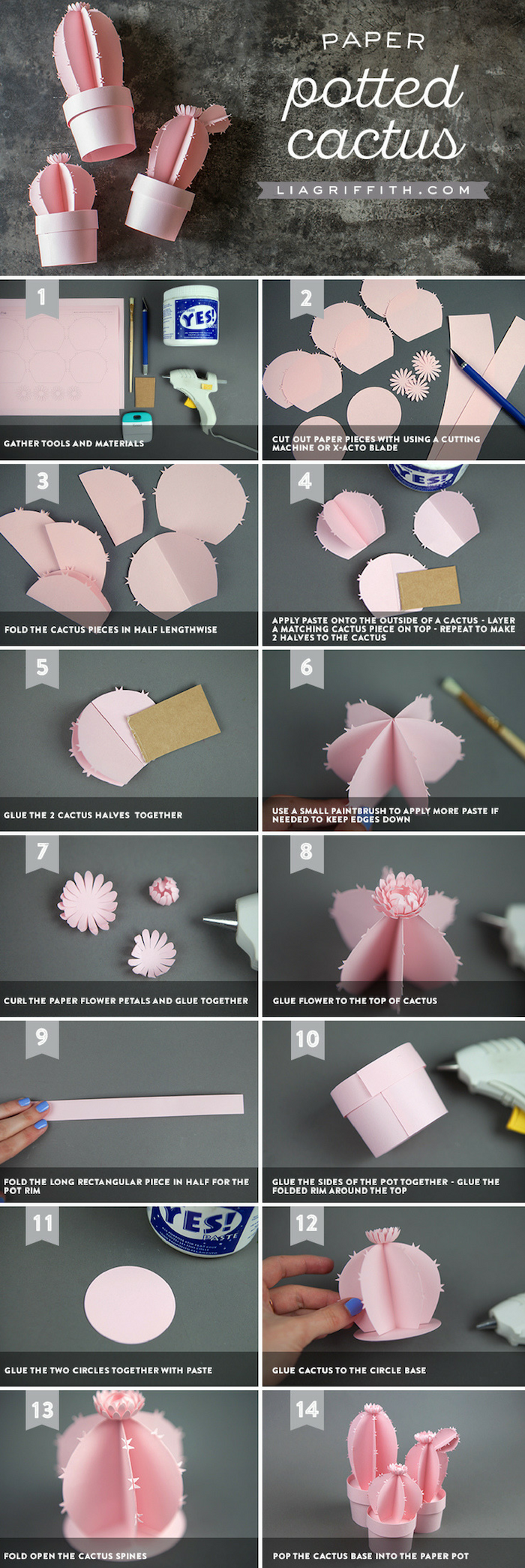 free paper flower templates, photo collage of step by step diy tutorial, how to make a potted cactus out of paper