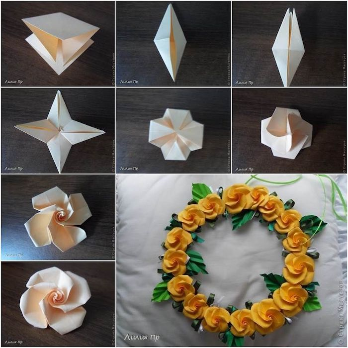 how to make a paper roses wreath, free paper flower templates, photo collage of step by step diy tutorial
