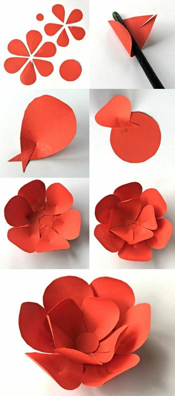 photo collage of step by step diy tutorials, free paper flower templates, how to make a small paper flower