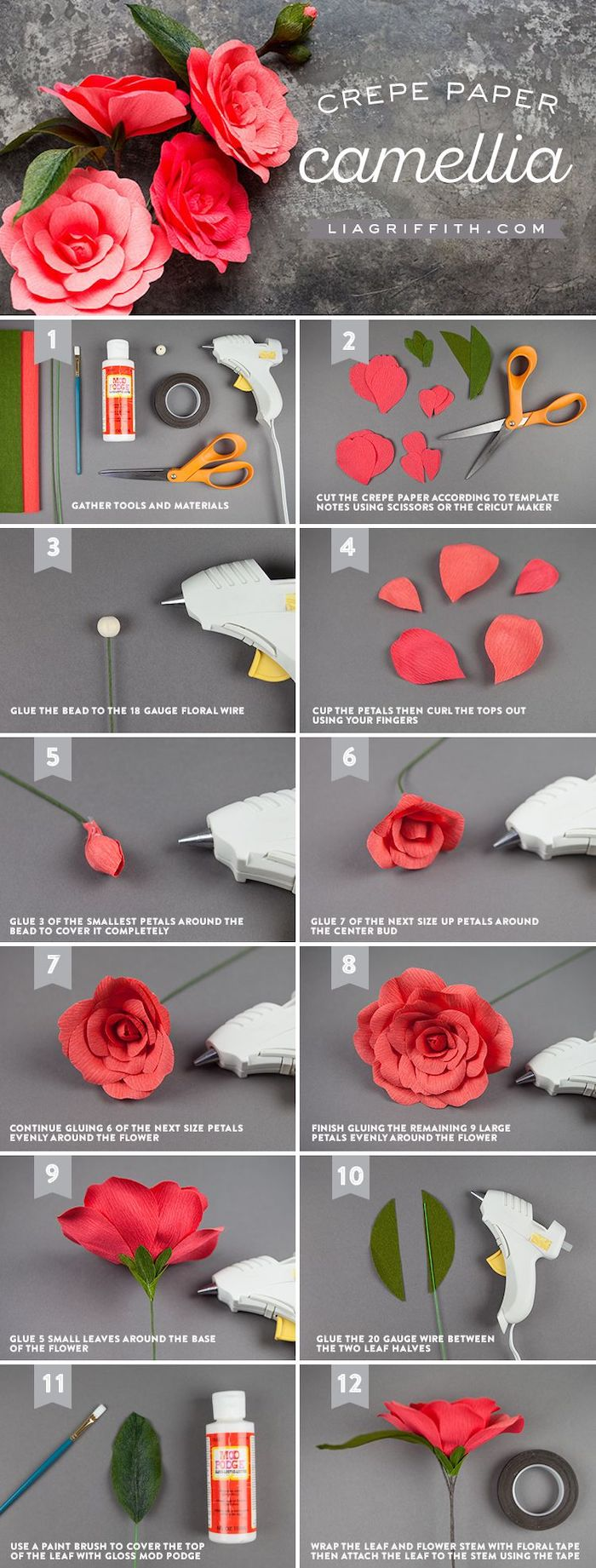 how to make flowers out of paper, how to make camellia flower out of crepe paper, photo collage of step by step diy tutorial